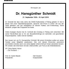 Dr. Hansgünther Schmidt (1935-2018) ist gestorben